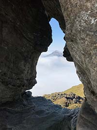 Ben Arthur - The Cobbler. Through the Cobblers needle.  Extreme caution if you choose to go on top