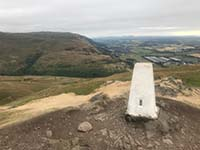 Dumyat hill run. At the top there is a trig point