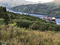 Glen Fruin to Loch Long. Oil tanker at the terminal.