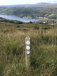 Glen Fruin to Loch Long. Overlooking Garelochhead.  Route signs to follow.