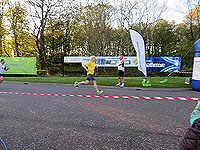 Helensburgh 10K. A runner coming up to the finish line