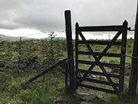 Glen Sherup loop. Follow the faint path on the right just after this gate.
