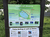 Loch Skene . Information board about the loch.