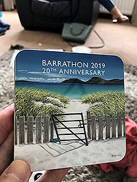 Barrathon. Not really the east coast, but that is where we tookk the picture.  This is the coaster given to finishers.
