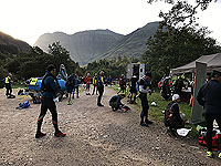 Glen Coe Marathon. Before the start inflatable is up. Beautiful