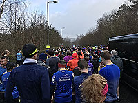 Balloch to Clydebank half. The mass crowds gather
