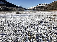 Lochs Voil and Doine. Snow at Loch Voil
