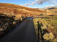 To Carn Labhruinn. Long winter sunshine shadows