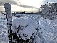 Sheriffmuir loop. Towards Wallace monument in snow