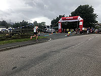 Runner approaches the finish line of the mull half marathon