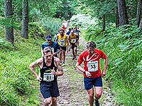 Runners heading up hill in the Aboyne hill run.