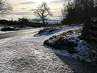 Ice covered path at entrance to the reservoir