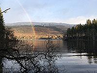 A rainbow over Loch Ard