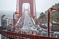 Runners on the Golden Gate bridge