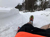 Fall in the snow while running