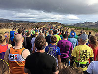 Runners gather at the start of the Loch Ness marathon